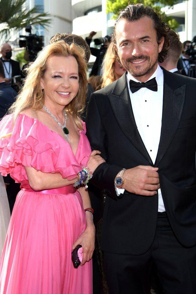 Chopar's Co-President Caroline Scheufele and actor William Abadie at Cannes Film Festival, 2021
